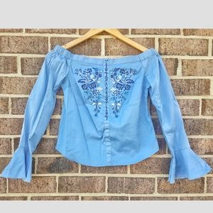 Express Off the Shoulder Embroidered Bell sleeve t